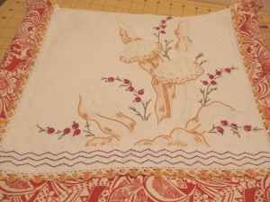 This is the mushroom dresser scarf soon-to-be outside flap