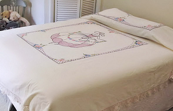 Bedspread from vintage hand embroidery